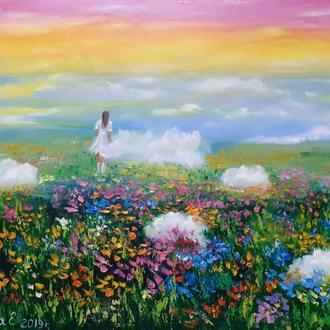 """Картина маслом Пейзаж с луговыми цветами  """"Там, где живут мечты""""."""