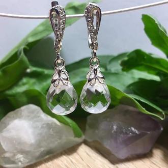 Серебряные серьги с хрусталем