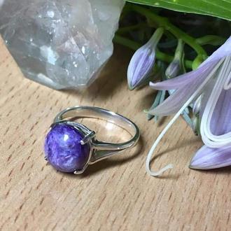 Серебряное кольцо с натуральным чароитом