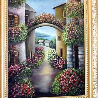 Середземноморський пейзаж, живопис, розмір 35х45см