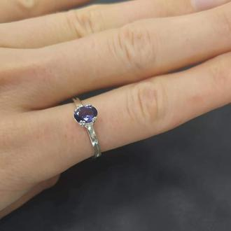 Серебряное кольцо с натуральным иолитом, кордиерит или фиалковый камень