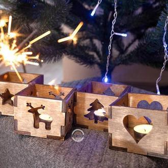 Подсвечники деревянные, комплект 3шт, корпоративный подарок, новорічний подарунок