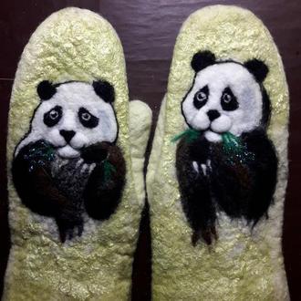 валяные варежки панда