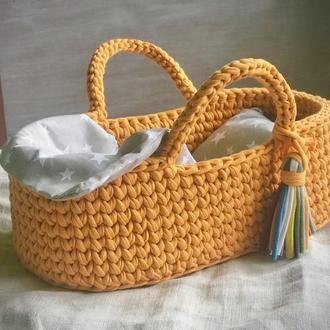 Люлька для кукол подарок дочке декор для детских комнат вязаная люлька кровать