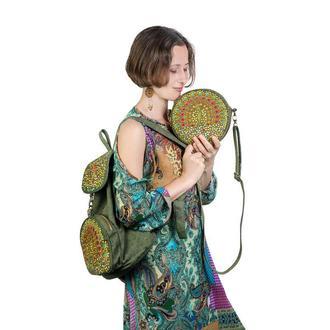 Зелёный рюкзак и зелёная сумочка с вышивкой Золотой павлин