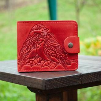 9 отделов Маленький женский красный кошелек кожаный с тиснением птички