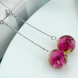 Серьги-шарики с бутонами розочек на длинных цепочках Подарок девушке (модель № 2711) Glassy Flowers