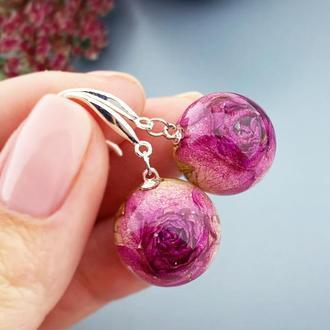 Серьги с розами Цветы и растения в смоле Подарок жене девушке маме (модель № 2712) Glassy Flowers