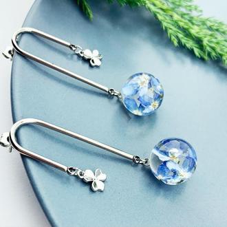 Серьги в стиле геометрия с незабудками Подарок жене девушке маме (модель № 2713) Glassy Flowers