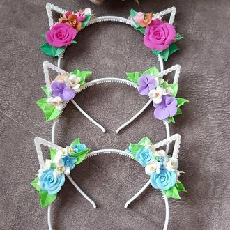 """Детский ободок с милыми ушками и цветами """"Киса"""""""