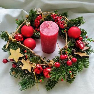 Рождественский венок со свечой на стол Новогодний венок Венок на стол