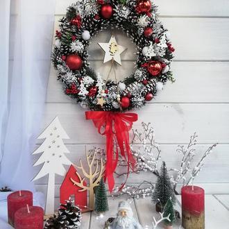 Новогодний венок. Новорічний вінок. Вінок на двері. Новогодний декор. Венок из шишек.