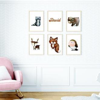 Набор из 6 постеров Forest animals