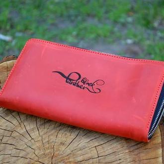червоний гаманець з натуральної шкіри