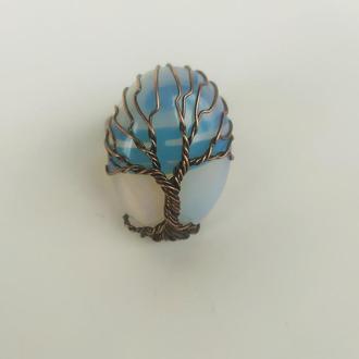 """Кольцо """" Дерево жизни"""" с натуральным камнем опал"""