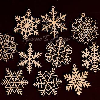 Деревянные Ёлочные игрушки, набор снежинок из дерева,новогодний набор деревянных игрушек