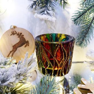 """Роскошный и праздничный стеклянный подсвечник """"Закат в лесу""""."""