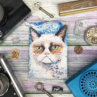 Обложка для паспорта с грустным котом, кот Ван Гога, грустный кот, паспортная обложка
