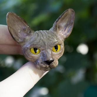Брошь сфинкс, брошка кошка, кот из полимерной глины