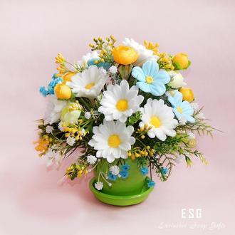 """Подарочная композиция """"Букет ромашек"""" - букет цветов из мыла"""