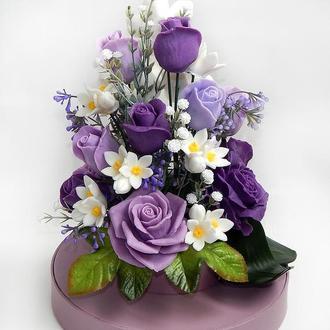 Букет цветов из мыла - подарочная упаковка
