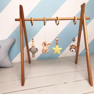 Мобиль для новорождённых с 4 вязанными игрушками, развивающий мобиль baby gym, подарок родителям