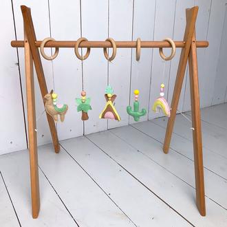 Мобиль для новорожденных с 5 игрушками из фетра, ручной работы игрушки из фетра, baby gym, 0+