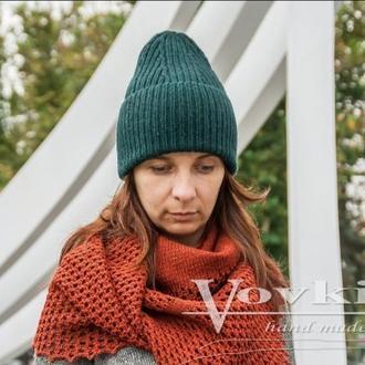 Шапка вязаная женская с отворотом и удлинённой макушкой , теплая шапка