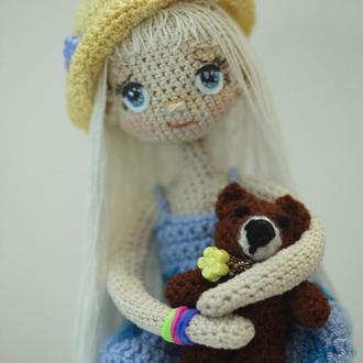 Каркасная кукла Полинка с мишкой