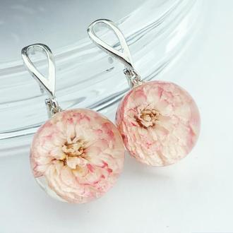 Нежные серьги с розовыми цветами жемчужницы Подарок девушке жене маме (модель № 2724) Glassy Flowers