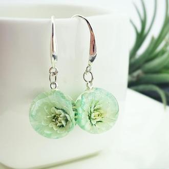 Серебряные серьги Бирюзовые цветы жемчужницы Подарок девушке маме (модель № 2726) Glassy Flowers