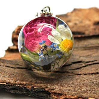 Кулон шар с букетом цветов