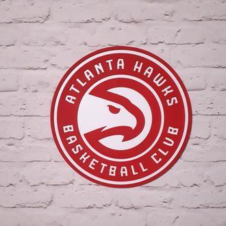 Дерев'яний логотип постер емблема команди НБА Атланта Хокс (Atlanta Hawks)
