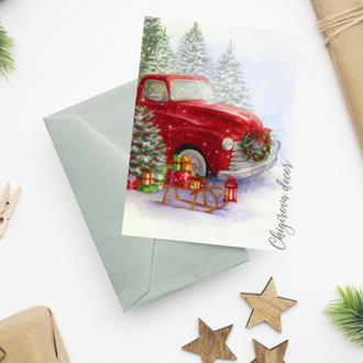 """Рождественская открытка """"Рождественский пикап"""""""