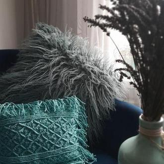 Подушка декоративная макраме 32×26 бирюзовая