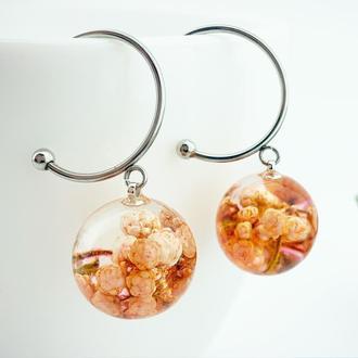Терракотовые серьги с цветами озотамнуса Подарок девушке маме жене (модель № 2727) Glassy Flowers