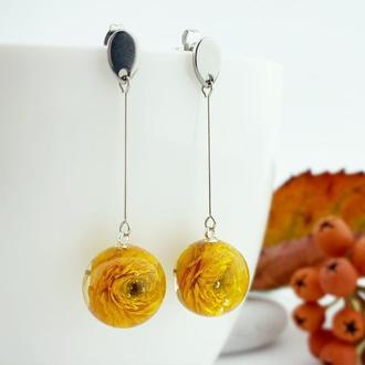 Длинные серьги с цветами жёлтых лютиков Подарок для творческих людей (модель № 2729) Glassy Flowers