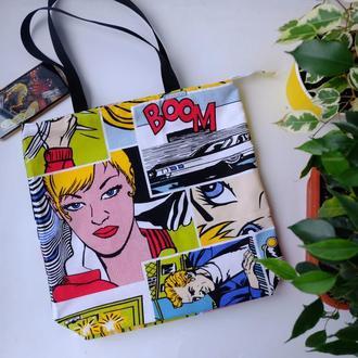 """Эко сумка для покупок """"Comics"""", сумка пакет, эко торба, сумка шоппер"""