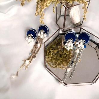 Синие бархатные серьги с жемчугом