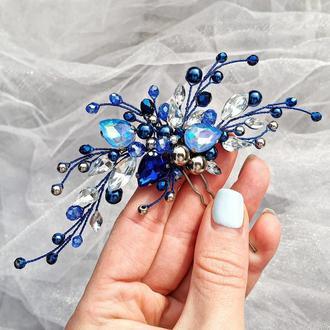 Украшение для волос, синяя заколка, синее украшения в прическу на выпускной