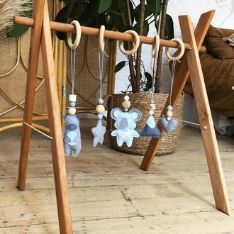 Развивающий мобиль с 5 фетровыми игрушками, Монтессори активный центр, деревянный детский тренажёр