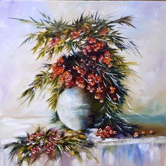 Картина маслом Рябина.