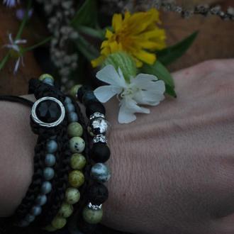 Набор браслетов из натуральных камней