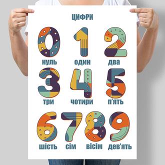 Постер для дітей Цифри українською мовою