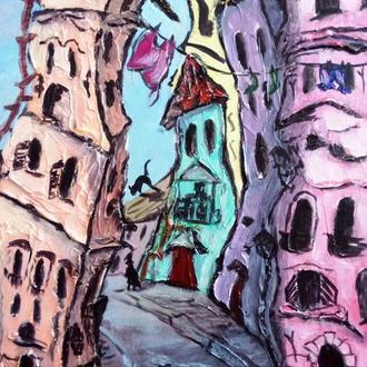 Старый город. Акрил, грунтованный картон, 30*50