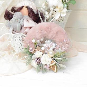Мини-веночек розовый с кремовым