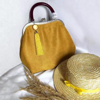 Гірчична сумка зі штучної замші