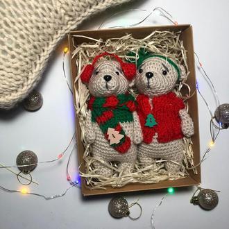 Подарок на новый год и николая ( набор мишек амигуруми ручной работы) вязанные  мишки, медведь