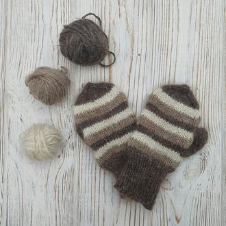 В'язані жіночі рукавиці, рукавички з козячого пуху.