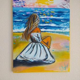 "Картина маслом ""Девушка у моря"""